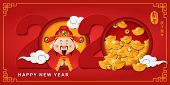 2020 Happy Chinese New Year Of Cartoon Cute God Of Wealth And Spiral Curve Cloud Golden Ingot. Chine poster
