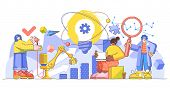 Innovation Progress Management Creative Big Limbs Person Concept, Vector Illustration. Startup Busin poster