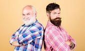 Bearded Friends. Family Team. Brutal Guys With Long Beard. Barber Well Groomed Handsome Bearded Man. poster