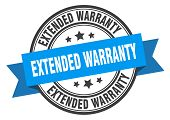 Extended Warranty Label. Extended Warranty Blue Band Sign. Extended Warranty poster