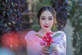 Korean Girl In Traditional Dress, Beautiful Asian Girl In Traditional Korean Dress,hanbok poster