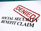 stock photo of denied  - Social Security Claim Denied Stamp Showing Social Unemployment Benefit Refused - JPG