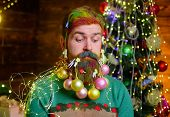 Merry Christmas And Happy New Year. Christmas Beard Decorations. New Year Party. Bearded Man With De poster