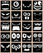 stock photo of bigfoot  - Set of 20 avatars in black and white - JPG