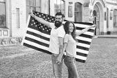 National Holiday. Bearded Hipster And Girl Celebrating. 4th Of July. American Patriotic People. Amer poster