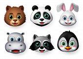 Animals Emoji And Emoticon Happy Face Vector Set. Emojis Or Emoticons Of Animals Creature Like Bear, poster