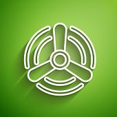 White Line Wind Turbine Icon Isolated On Green Background. Wind Generator Sign. Windmill For Electri poster