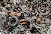 Heap Of Recyclable Old Dirty Junkyard Used Car Engine Scrap Machine And Rust Auto Parts Industry In  poster