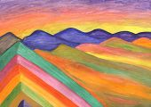 Rainbow Mountains In Peru, Hand-painted Gouache Painting. Mountains Painted With The Colors Of The R poster