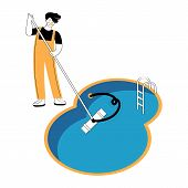 Swimming Pool Service Worker With Net Cleaning Water. Pool And Outdoor Cleaning, Swimming Pool Servi poster