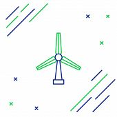 Blue And Green Line Wind Turbine Icon Isolated On White Background. Wind Generator Sign. Windmill Fo poster