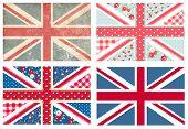 Постер, плакат: 4 Милый британские флаги в потертый шик цветочные и марочных стиле