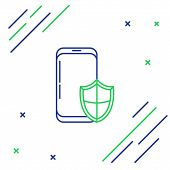 Blue And Green Line Smartphone, Mobile Phone With Security Shield Icon Isolated On White Background. poster