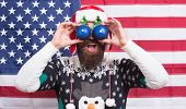 Great American Christmas. Happy Santa American Flag Background. Big Eyes. Excited Look. Happy To See poster