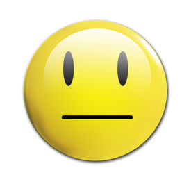 stock photo of smiley face  - an unhappy smiley on a white background - JPG