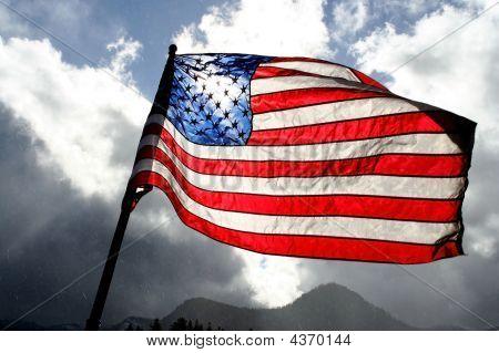 American Flag Clouded Sky