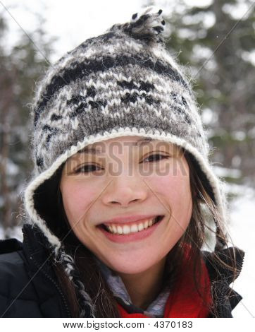 Young Smiling Woman In Winter