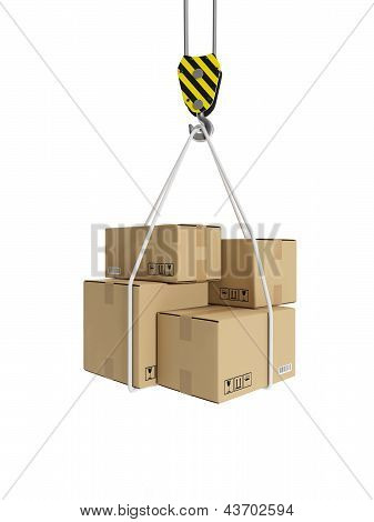 3D Illustration: Cargo Transportation, Crane Hook, And Cardboard Boxes