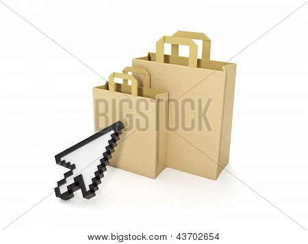 3D Illustration: Purchase Of Goods Via The Internet. Online Shop