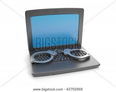 3D Illustration Internet Crime. Laptop And Handcuffs Crime