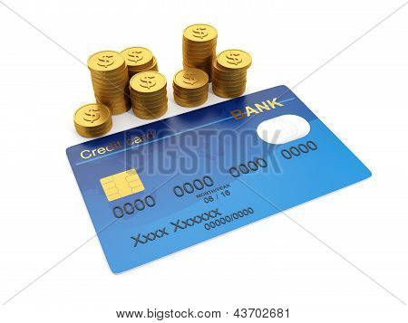 3D Illustration: Keeping Money In The Credit Card. Group Of Gold Coins And Credit Cards