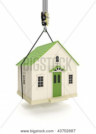 3D Illustration: Drive Home. The Hook Of A Crane Lifts The House. Change Of Residence