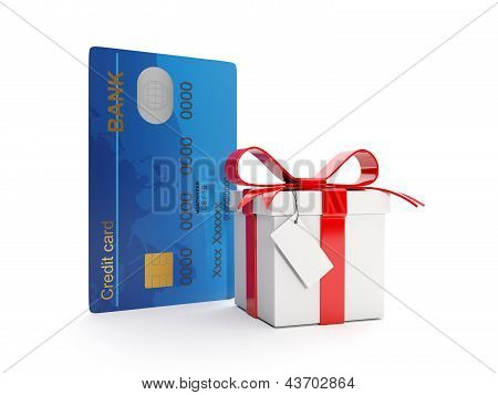 3D Illustration: Credit Card And Gift Box. Money As A Gift, Bonus