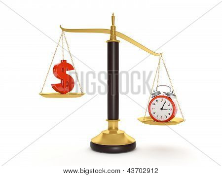 3D Illustration: Balance Time And Money. Current Value Of The World