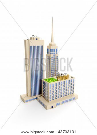 3D Illustration: Multi-storey Building, The Architecture
