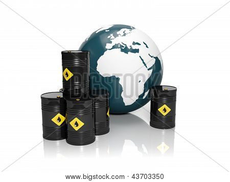 3D Illustration: Oil Production In Large Quantities: Barrels Of Oil And A Model Of The Earth On A Wh