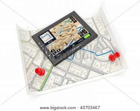 3D Illustration: The Gps Navigator And The Card On A White Background. Search Of The Right Place, De