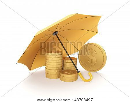 3D Illustration: Protecting Funds, Insurance. Umbrella Covers Gold Coins On A White Background