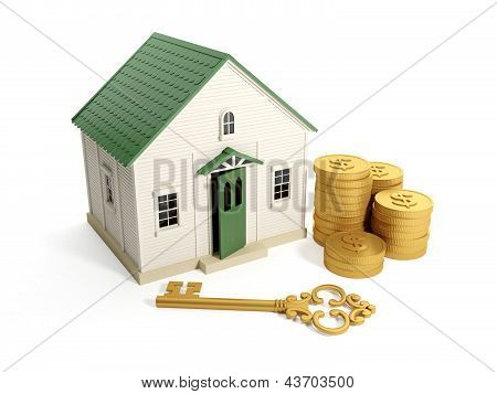 3D Illustration: Buying A Home, Real Estate Loan. Toy House With A Golden Key And A Group Of Gold Co
