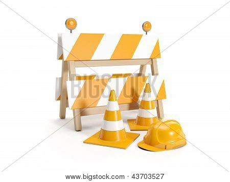3D Illustration: Repair Roads, Replacing The Road. Signs