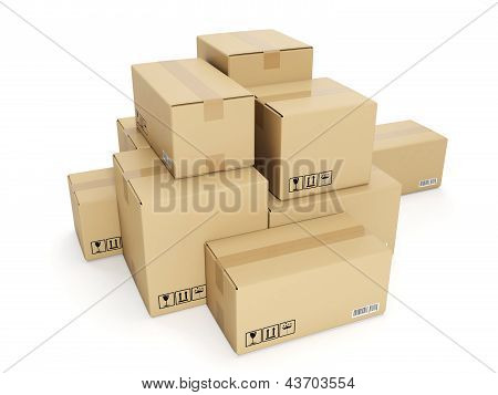 3D Illustration: Cardboard Box On White Background