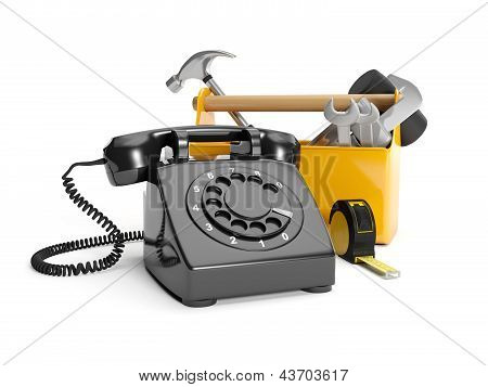 3D Illustration: Calling Plumbing Repair Service Order. Phone, Wrench On A White Background