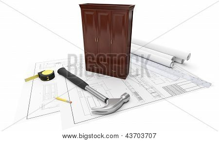 3D Illustration: Drawings Of Furniture, Cabinets, Tape Measure, Ruler, Hammer. Construction And Manu