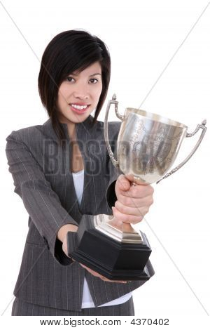 Business Woman With Trophy