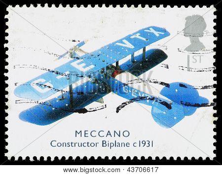 Britain Meccano Biplane Postage Stamp