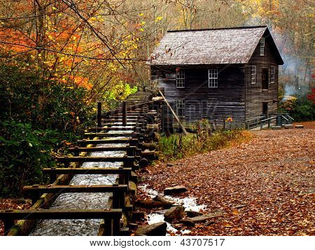 Mingus Mill in Smoky Mountain National Park in the fall