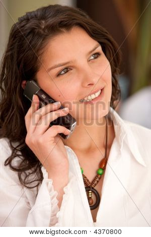 Businesswoman On Her Cell Phone