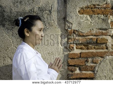Asian Woman Greets In Temple, Sawasdee