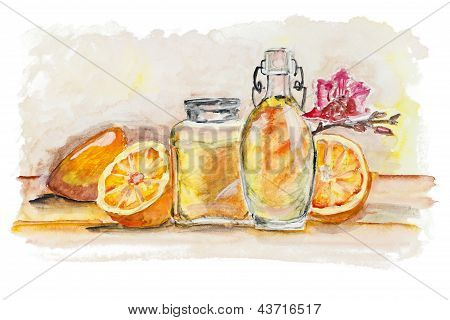 Oranges And  Glass Of Juice Still Life Isolated