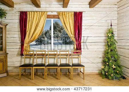 Christmas Room In Rural House