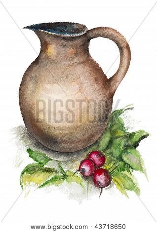 Spring Radish And A Big Jug