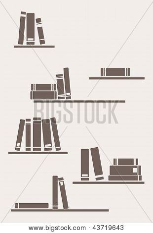 Books on the shelf - simply retro vector illustration. Vintage objects for decorations, background.
