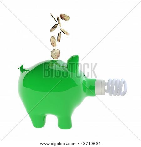 Euro Coins Falling Into Green Piggy Bank With Energy Efficient Light Bulb