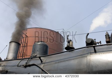 Upper Part Of Old Steam Locomotive