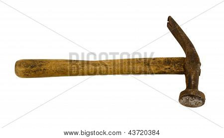 Old Rusty Retro Hammer Tool Isolated On White