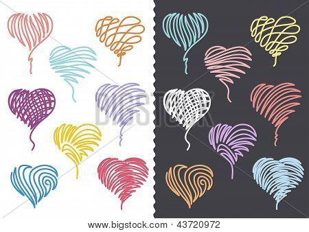 Color Hand Drawn Hearts Set
